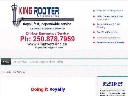 King Rooter Plumbing Inc (250-878-7959) - Website thumbnail - http://www.kingrooterinc.ca