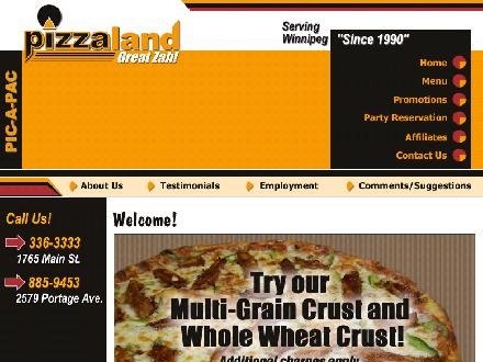 Pizzaland (204-336-3333) - Onglet de site Web - http://www.pizzaland.ca