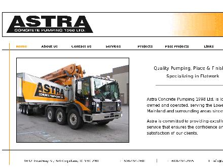 Astra Concrete Pumping 1998 Ltd (604-464-2681) - Website thumbnail - http://www.astraconcrete.ca