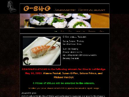 O-Sho Japanese Restaurant (403-327-8382) - Onglet de site Web - http://www.oshojapanese.com