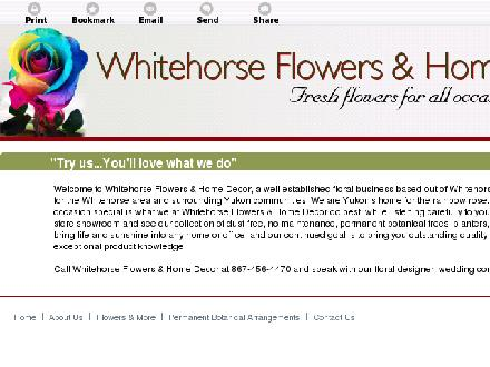 Whitehorse Flowers Etc (867-456-4470) - Website thumbnail - http://whitehorseflowers.ca/
