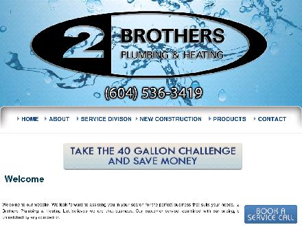 Two Bros Plumbing & Heating Ltd (604-536-3419) - Website thumbnail - http://www.2brothersplumbing.com