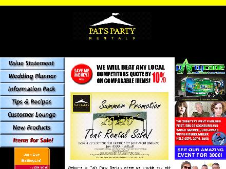 Pats Party Rentals (905-333-3034) - Website thumbnail - http://www.patspartyrentals.net
