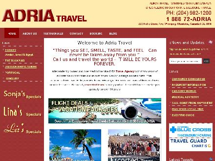 Adria Travel (204-982-1200) - Website thumbnail - http://www.adriatravel.ca