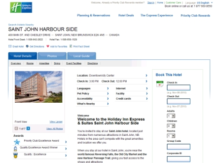 Holiday Inn Express & Suites (506-642-2622) - Onglet de site Web - http://www.hiexpress.com/saintjohn