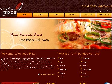 Venetis Pizza (604-587-4185) - Onglet de site Web - http://www.venetispizza.com
