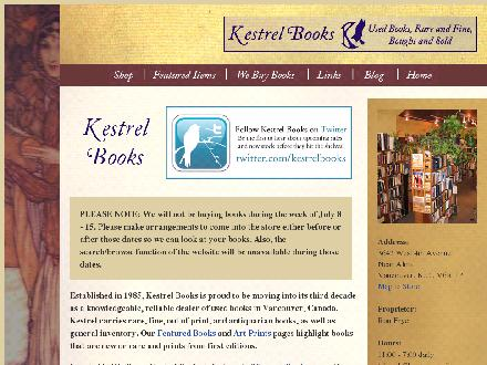 Kestrel Books (604-872-2939) - Website thumbnail - http://www.kestrelbooks.ca