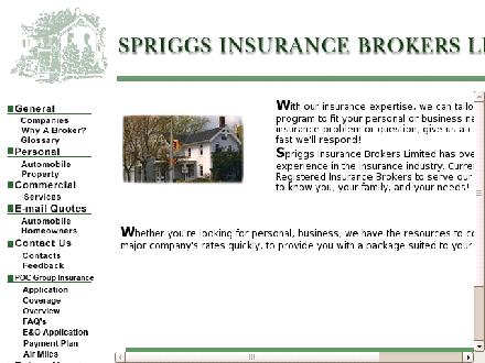 Spriggs Insurance Brokers Limited (289-813-1763) - Website thumbnail - http://www.spriggs.ca