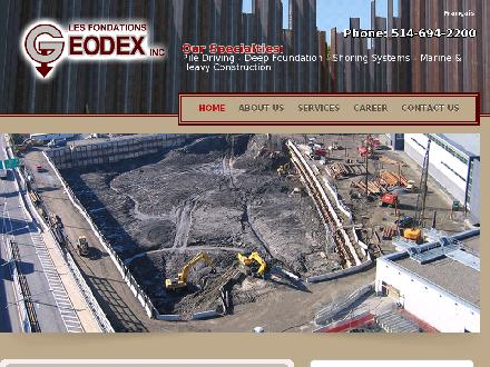 Geodex Foundations Inc (514-694-2200) - Onglet de site Web - http://www.geodex.ca