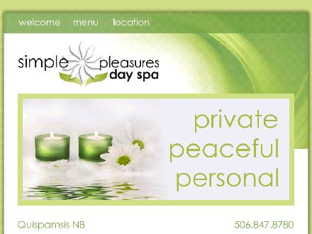 Simple Pleasures Day Spa (506-847-8780) - Onglet de site Web - http://www.simplepleasuresdayspa.ca