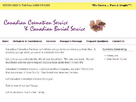 Canadian Cremation Services Ltd (905-545-8889) - Website thumbnail - http://www.canadiancremation.com