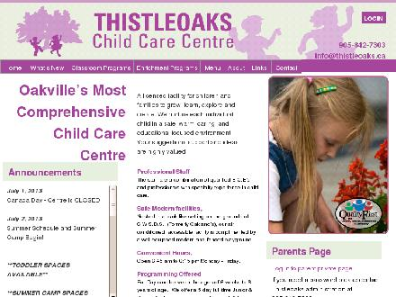 Thistleoaks Child Care Centre (905-842-7303) - Onglet de site Web - http://www.thistleoaks.ca/