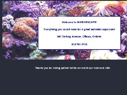 Marinescape Aquarium (613-761-1743) - Onglet de site Web - http://www.marinescape.ca/