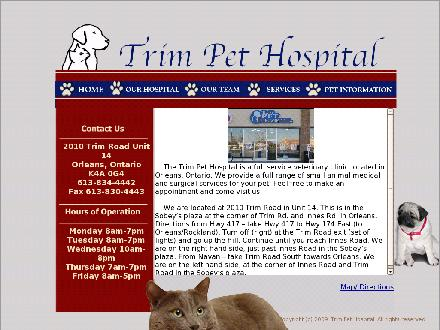 Trim Pet Hospital (613-834-4442) - Onglet de site Web - http://www.trimpethospital.ca