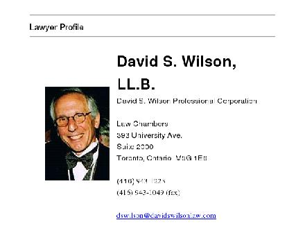 Wilson David S (416-943-1223) - Website thumbnail - http://www.lawchambers.com/Lawyers/David_Wilson.htm