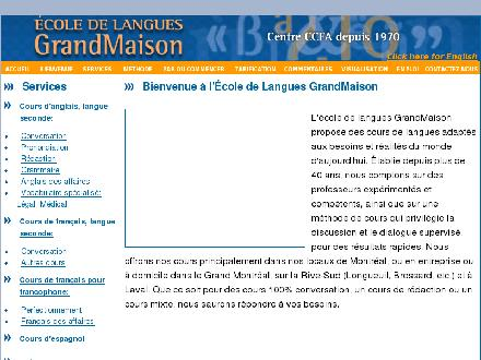 Ecole De Langues Grandmaison (514-985-2414) - Onglet de site Web - http://www.ecolegrandmaison.com/