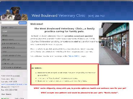 West Boulevard Veterinary Clinic (1980) Ltd (604-266-7421) - Onglet de site Web - http://www.wbvc.bc.ca