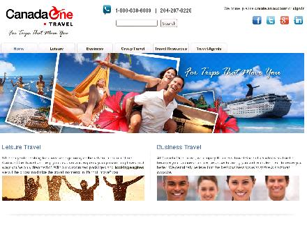 Canada One Travel Planners (204-888-8181) - Onglet de site Web - http://www.canada-one.com