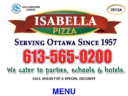 Isabella Pizzeria (613-565-0200) - Onglet de site Web - http://www.isabellapizza.com/