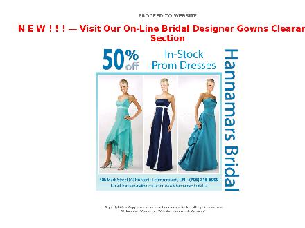 Hannamars Bridal (705-745-6999) - Website thumbnail - http://www.hannamarsbridal.ca