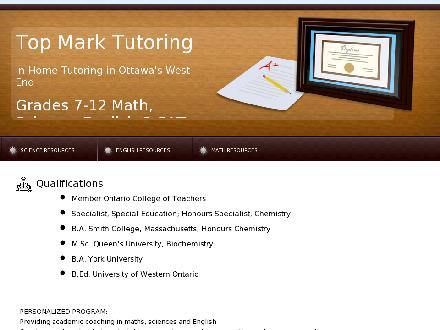 Top Mark Tutoring (613-836-1673) - Onglet de site Web - http://www.topmarktutoring.com