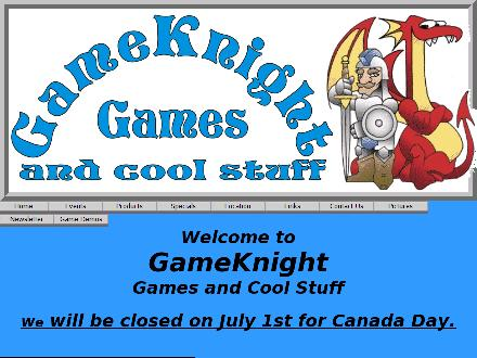 GameKnight Games and Cool Stuff (204-487-4263) - Website thumbnail - http://www.gameknight.ca