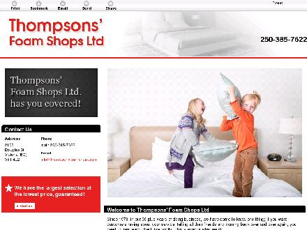 Thompsons' Foam Shops Ltd (250-385-7622) - Website thumbnail - http://www.thompsonsfoamshops.com