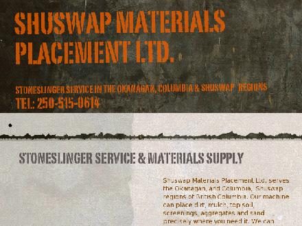 Shuswap Materials Placement Ltd (250-515-0614) - Onglet de site Web - http://www.stonechucker.com