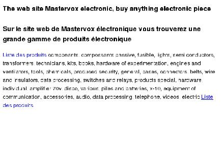 Electronique MasterVox (450-670-1550) - Onglet de site Web - http://www.master-vox.com