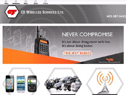 C F Wireless Services Ltd (403-287-5377) - Onglet de site Web - http://cfwireless.ca/