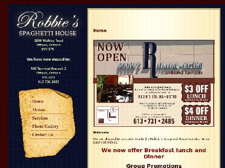 Robbie's Spaghetti House (613-731-2485) - Onglet de site Web - http://www.robbiesspaghettihouse.com