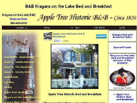 Apple Tree Historic B & B (905-468-8687) - Onglet de site Web - http://www.appletreebb.ca