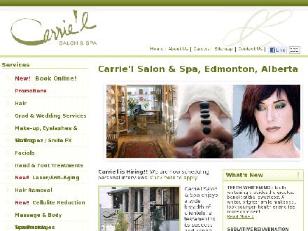 Carrie'L Salon & Spa (780-392-9883) - Onglet de site Web - http://carriel.ca/