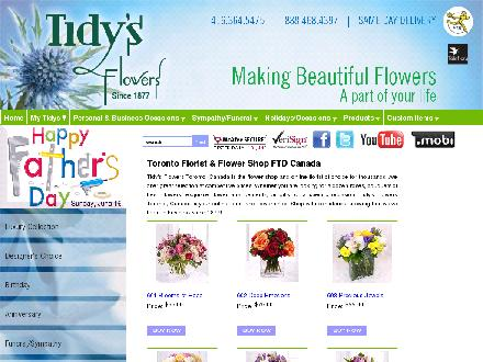Tidy's Flowers Inc (416-364-5475) - Onglet de site Web - http://www.tidysflowers.com
