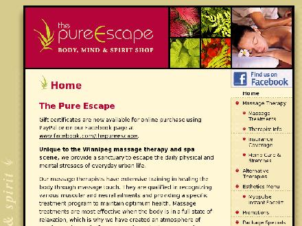 Pure Escape Massage Therapy Body Mind & Spirit Shop (204-488-0815) - Onglet de site Web - http://www.ThePureEscape.ca