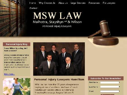 Malhotra, Stayshyn & Wilson Law Firm (905-777-0070) - Website thumbnail - http://www.mswlawoffice.com