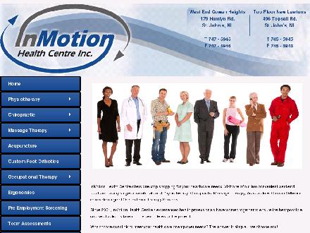 In Motion Health Centre Inc (709-700-0895) - Onglet de site Web - http://www.inmotionhealthcentre.ca
