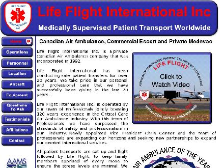Life Flight International Inc (250-655-1630) - Onglet de site Web - http://www.lifeflight.ca