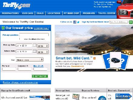 Thrifty Car Rental (403-262-4400) - Website thumbnail - http://www.thrifty.com