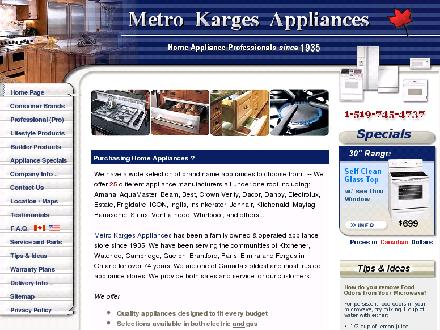 Metro Karges Appliances (519-745-4737) - Onglet de site Web - http://www.metrokarges.com