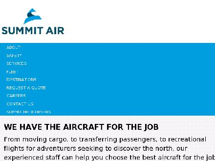 Summit Air Charters Ltd (867-669-9789) - Onglet de site Web - http://www.summitair.net
