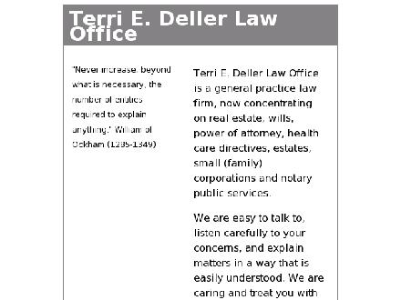 Deller Terri E Law Office (204-726-0128) - Website thumbnail - http://www.dellerlaw.com
