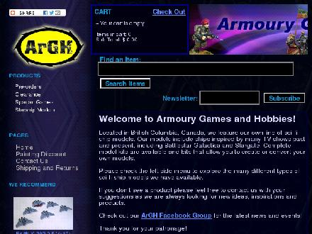Armoury Games & Hobbies (250-596-3065) - Onglet de site Web - http://www.armouryhobbies.com