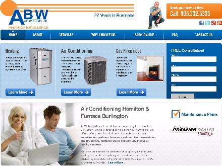 ABW Air Systems Ltd (905-332-5335) - Onglet de site Web - http://www.abwair.ca