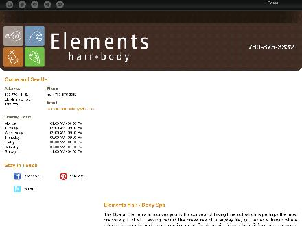 Elements Hair and Body (780-875-3332) - Onglet de site Web - http://spaelements.ca/