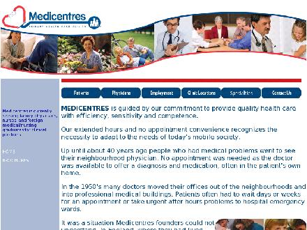 Medicentres (403-291-5588) - Website thumbnail - http://www.medicentres.com