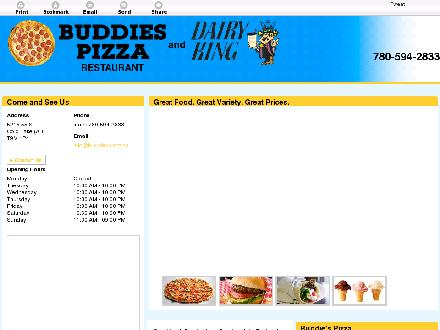 Buddie's Pizza (780-594-2833) - Onglet de site Web - http://www.buddiespizza.ca