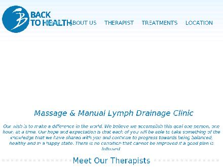 Back to Health Massage & Manual Lymph Drainage Clinic (604-273-2996) - Onglet de site Web - http://www.backtohealthmassage.ca