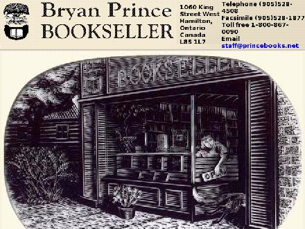 Bryan Prince Booksellers (905-528-4508) - Onglet de site Web - http://www.princebooks.net