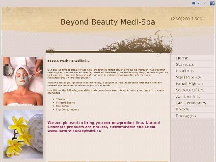 Beyond Beauty Medi-Spa (250-260-1500) - Onglet de site Web - http://www.beyondbeautymedispa.com